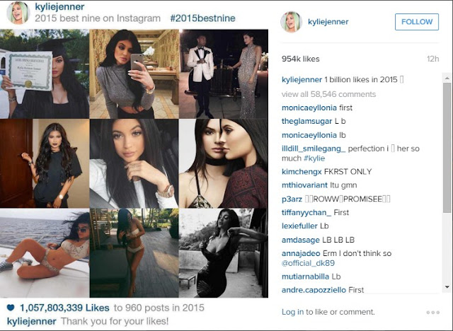"Kylie Jenner posted on Instagram ""Best nine Pictures of 2015"""