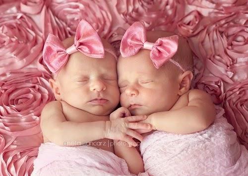Photo bébé jumelles  avec papillon rose