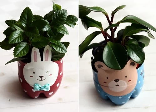 Recycled plastic bottle puppy planter diy craft projects for Plastic bottle planter craft