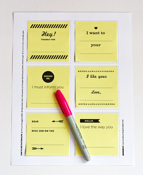 Free template for printing on Post-its