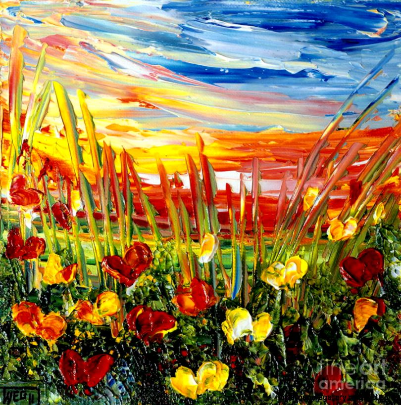 Sunrise Meadow Painting by Teresa Wegrzyn