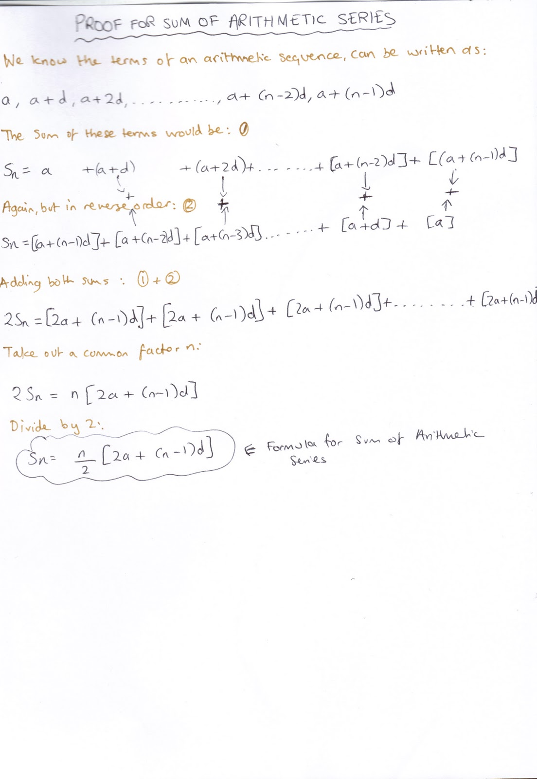 worksheet Arithmetic Series Worksheet a level mathematics sequences and series proof for the sum of arithmetic series