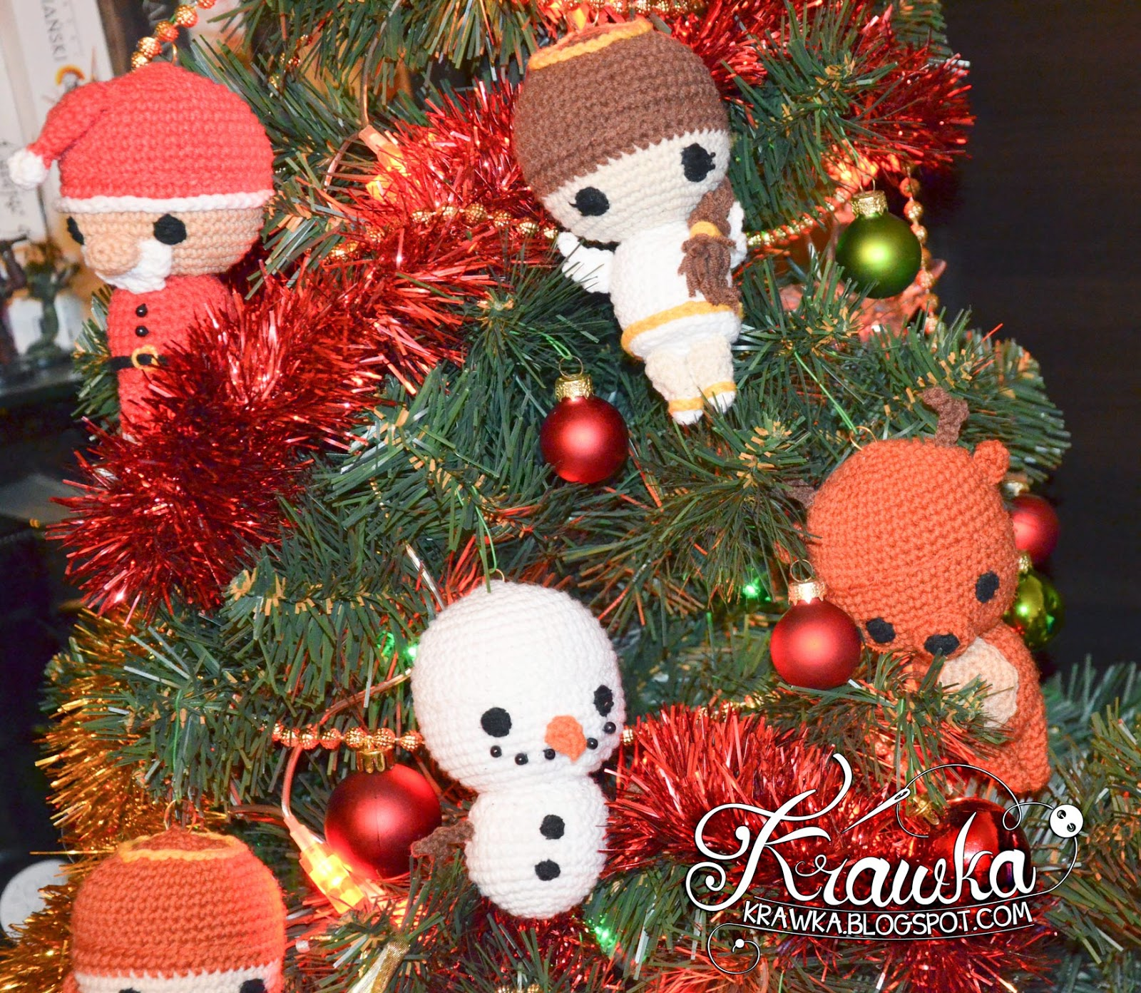 Krawka: Christmas tree ornaments crochet snowman, reindeer, angel