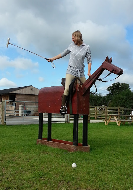 Polo on a wooden horse in Chester at JF Polo Academy
