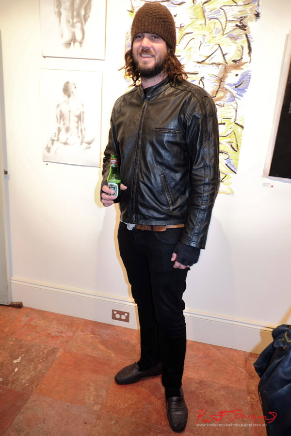 Mens style, black jeans leather jacket long hair and beanie - Art Opening - Street Fashion Sydney