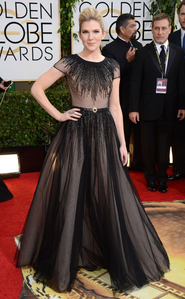 Lily Rabe in a black dress at the 2014 Golden Globe Awards