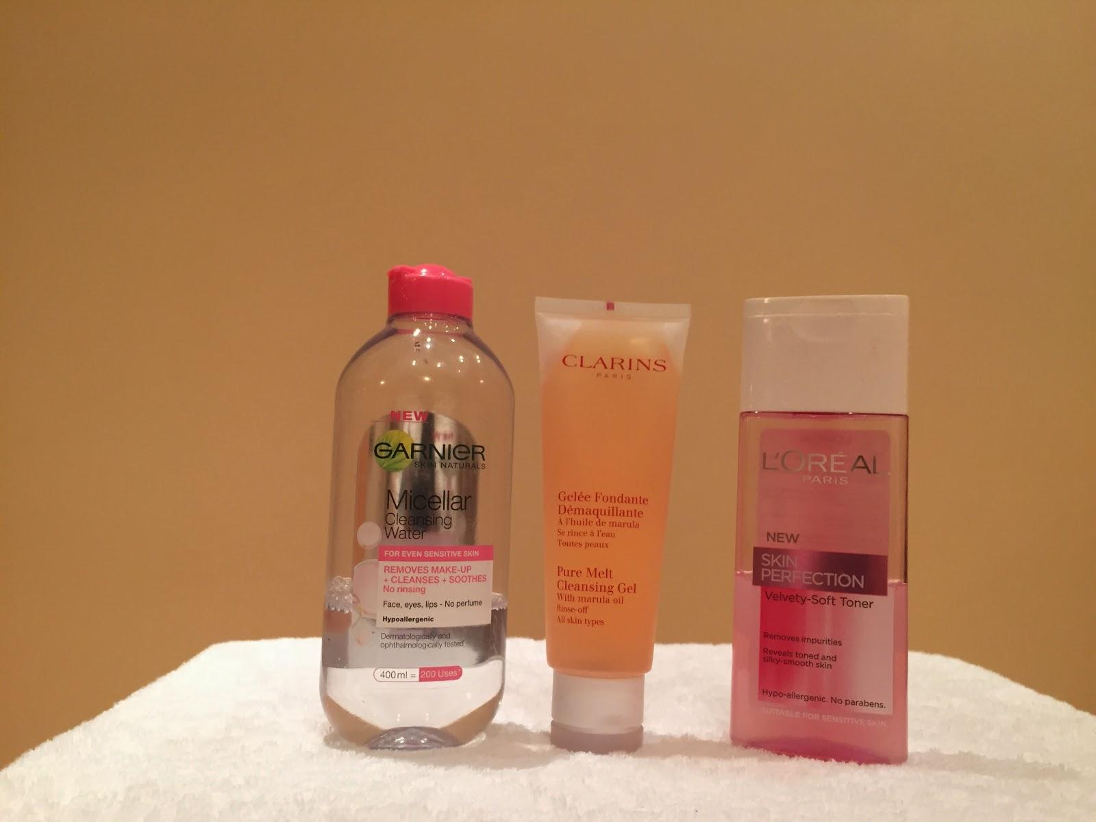 garnier clarins loreal cleanser toner micellar water