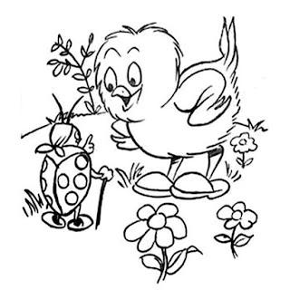 Desenho Para Colorir Primavera, pássaro no ninho