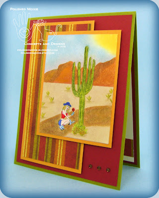 Image of my handmade garden desert card at a left angle to show its dimensional elements.