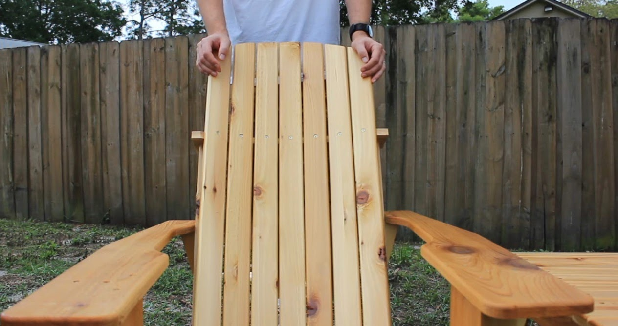 Adirondack chair back slats - After That Secure The Bottom Of The Back Slats I Made Two Chairs One Of Them I Just Ran The Back Slats Straight Up And Down