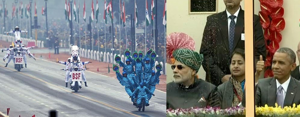 barrack obama thums up republic day bike stunt