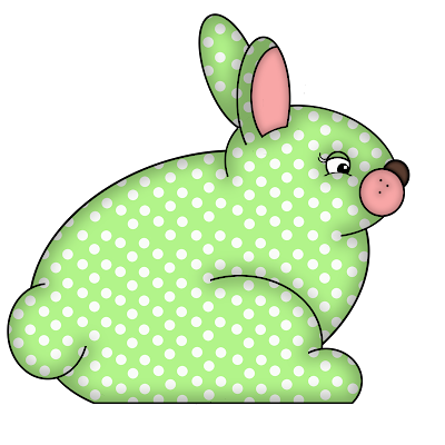 Free Green Polka Dot Bunny Digital Scrapbook Element 47