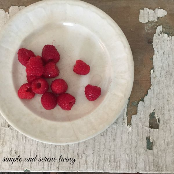 raspberries antique white ironstone plate