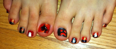 halloween, nail art, toes, spider, haunted house, ghost