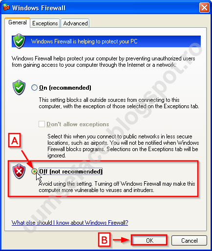 dezactivare firewall Windows XP