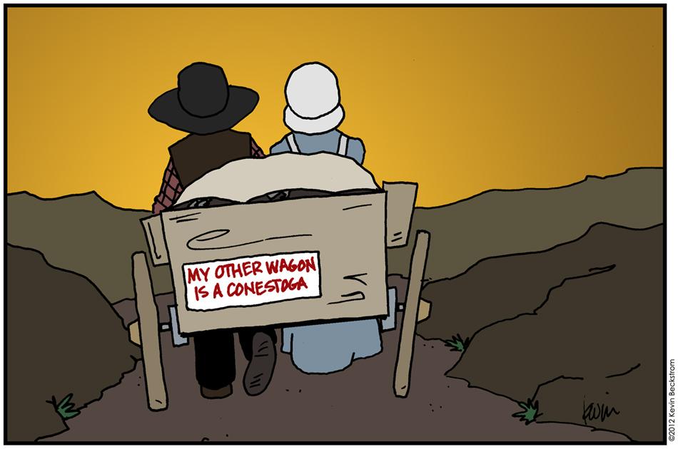 Cartoon Pioneer Wagons The stereotype of a pioneer is