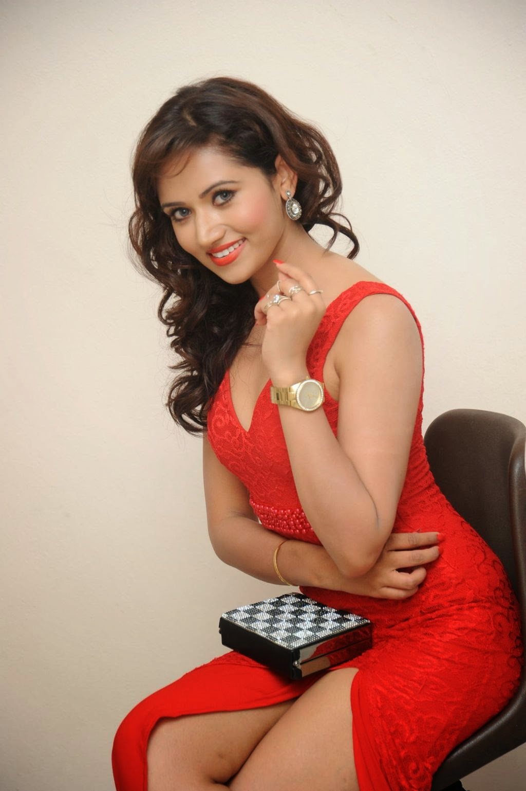 Preethi Rana latest glam pics in red-HQ-Photo-6