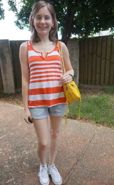 summer citrus outfit orange stripe tank bright yellow bag shorts converse playdate