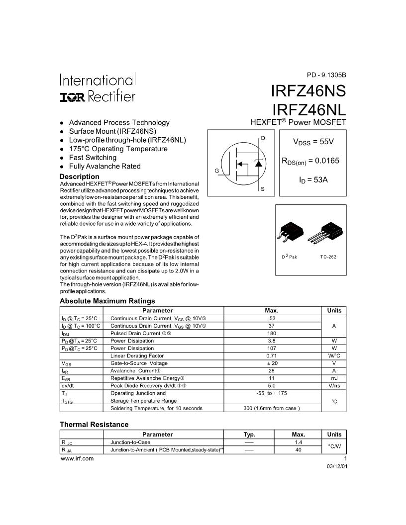 IRFZ46N N-Channel Mosfet Datasheet