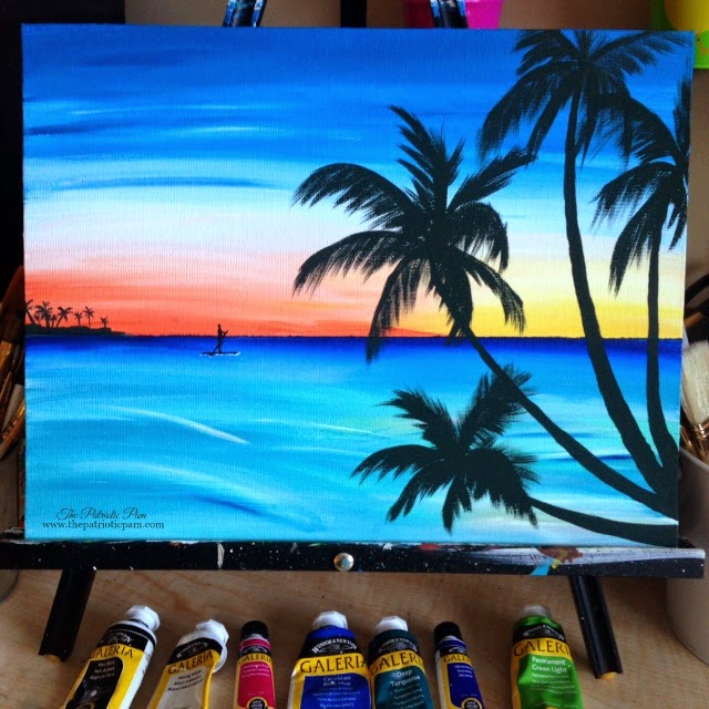 paddle boarders, sunset, beach, ocean, palm trees, acrylic painting, painting