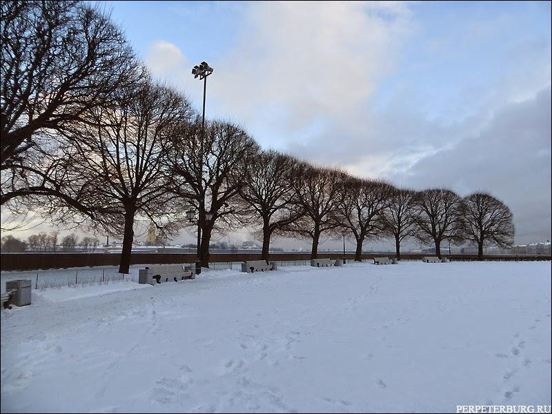 Фото Стрелки Васильевского Острова в Петербурге зимой без людей