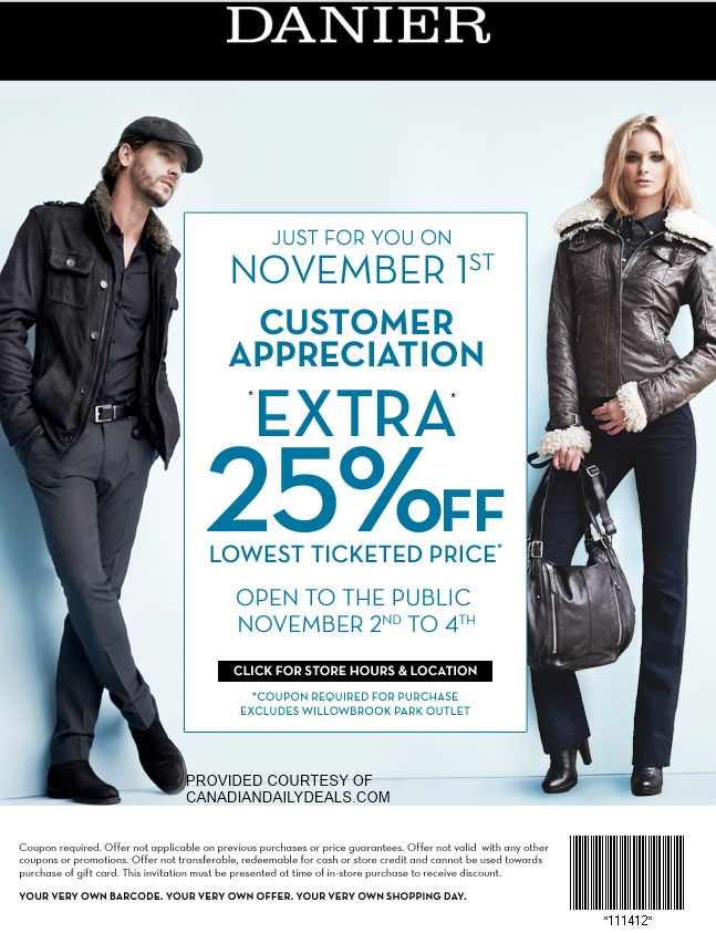 danier leather customer appreciation coupon canada 25% off