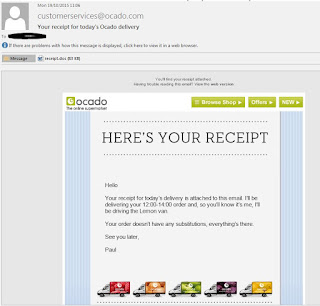 """Your Receipt for Today's Ocado Delivery"" Ocado spam email receipt"
