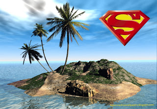 Wallpaper of Superman super Logo in 3D Island Desktop wallpaper image