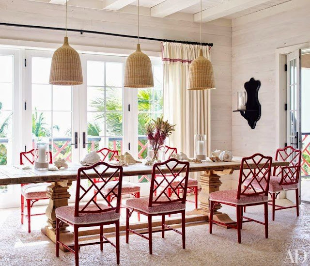 beautiful neutral dining room gold red pop of color fretwork chairs