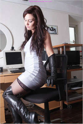 Black Leather Thigh Boots in the Office
