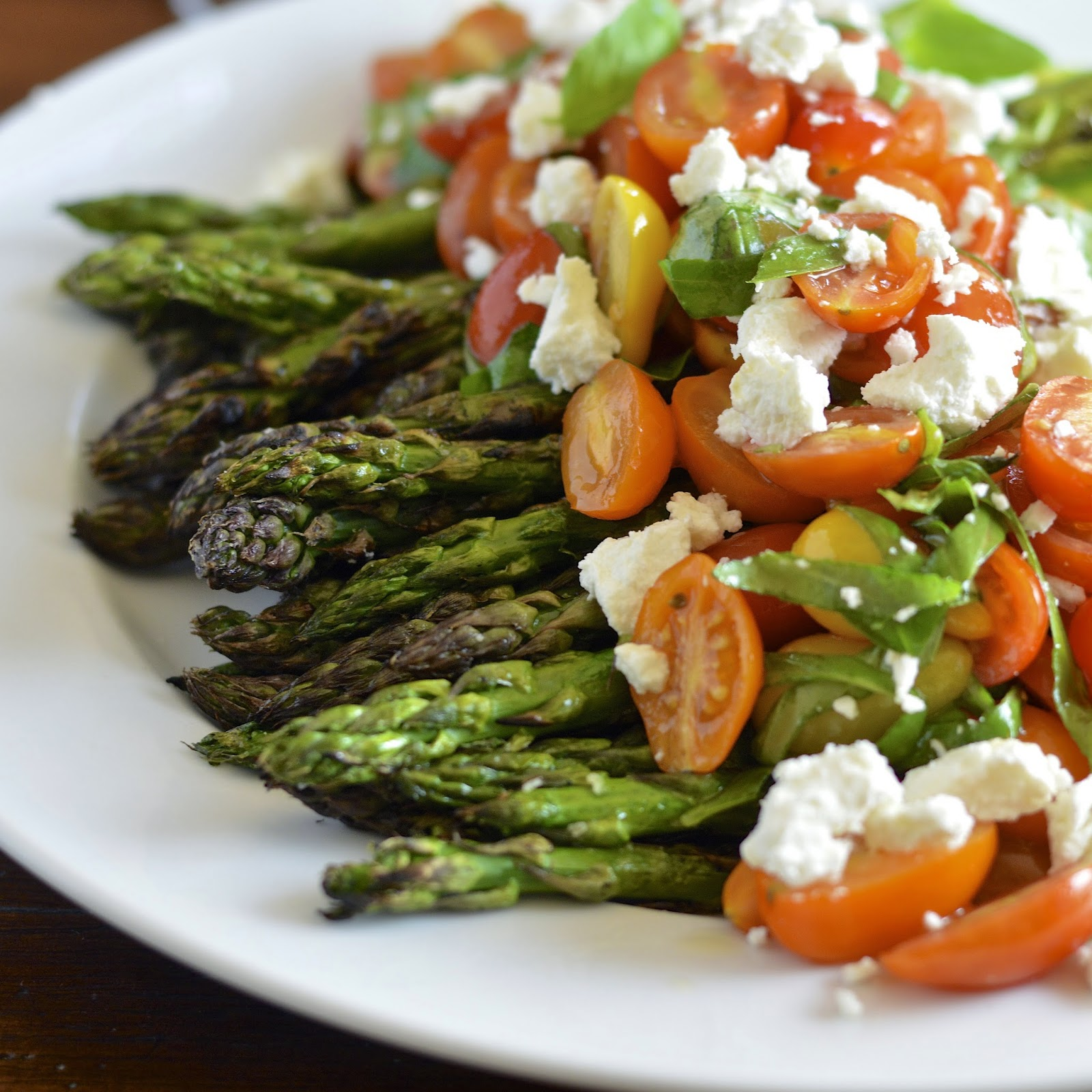 Grilled Asparagus with Tomato Salad and Goat Cheese ...