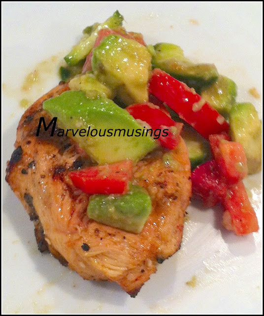 Easy grilled chicken with oils, spices and avocado, cucumber, tomato salad