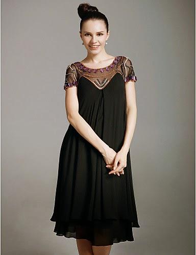 Vestido Madrina Gasa negro media falda