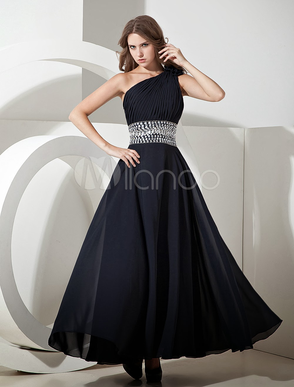 Dark Navy Blue Chiffon One Shoulder A-line Prom Dress