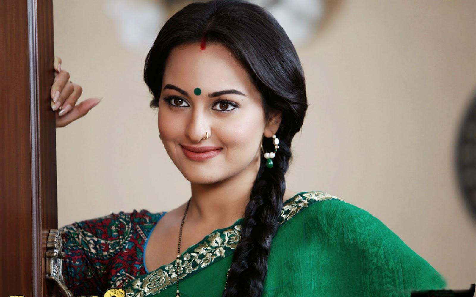 sonakshi sinha in green sarees wallpapers photos