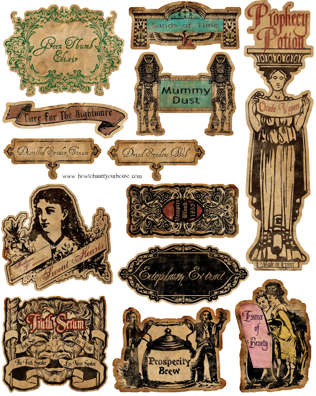 Printable Labels from How to Haunt Your House