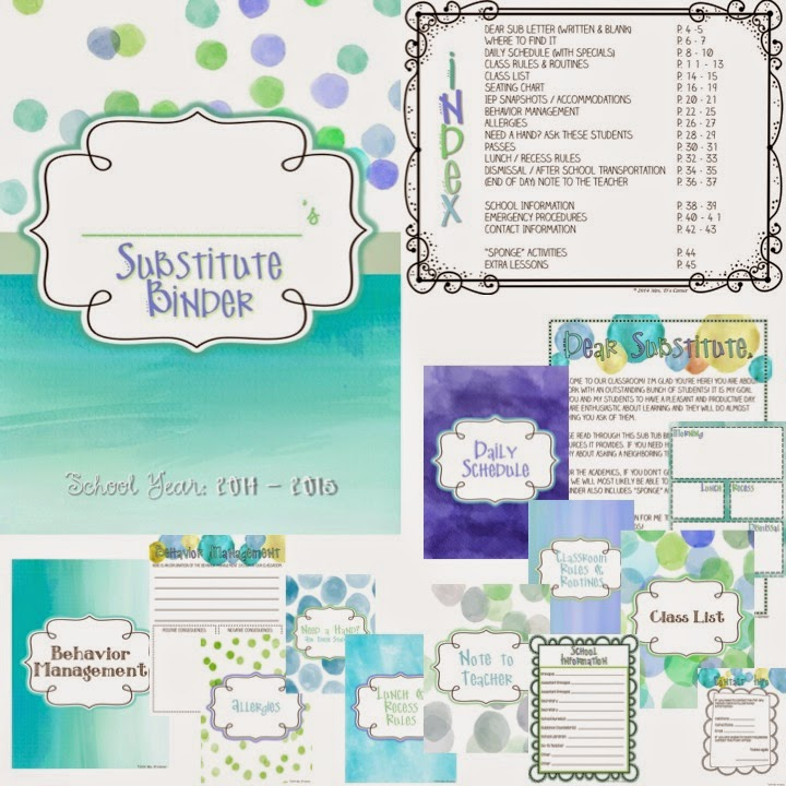 http://www.teacherspayteachers.com/Product/Substitute-Binder-Blue-Watercolor-The-Ultimate-Sub-Tub-Binder-Guide-1285264