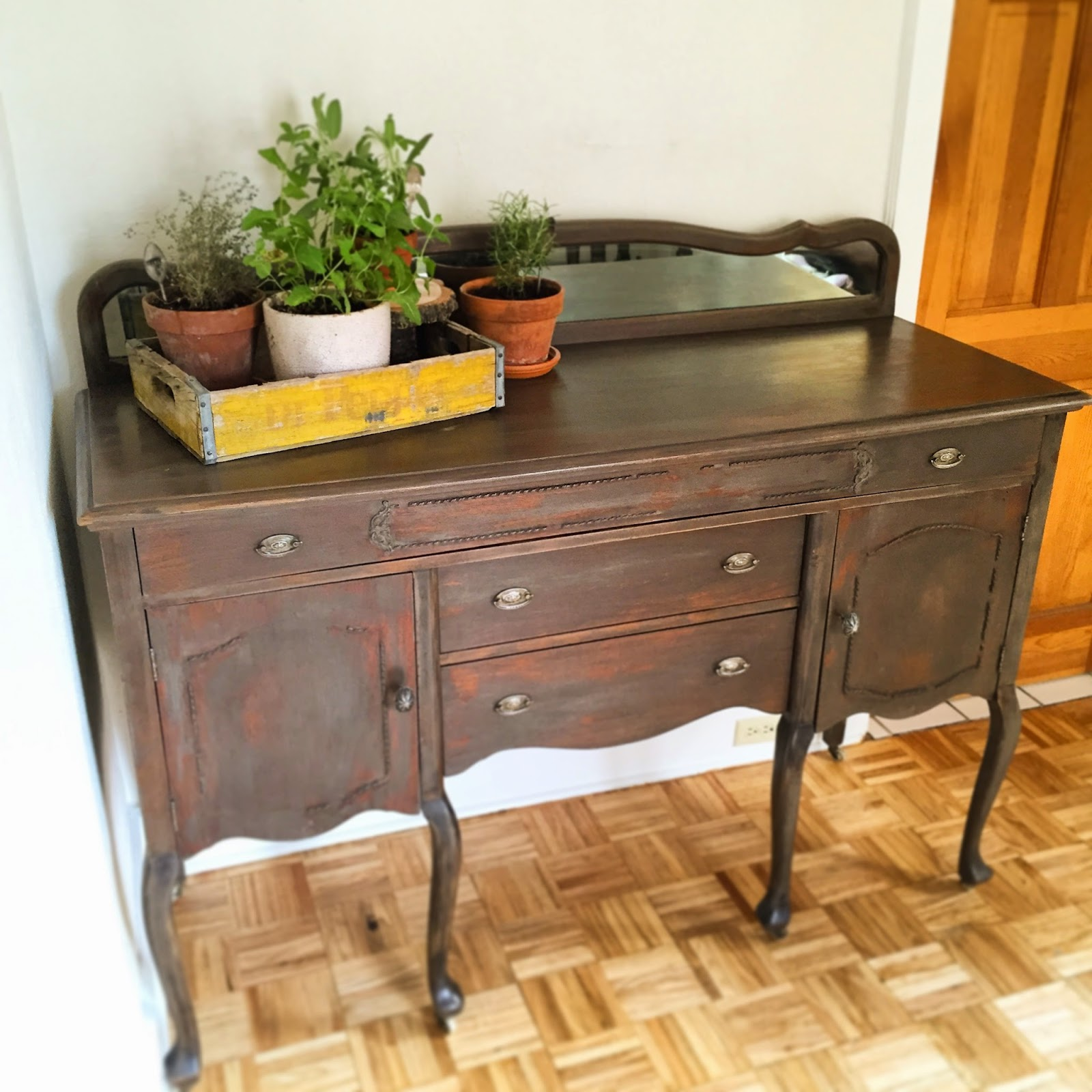 Antique buffet table furniture - Grand Grey Distressed Antique Wooden Buffet On Caster Wheels This Piece Has Such Hidden Charm From The Mini Mirror On The Top Back To The Long Low Top