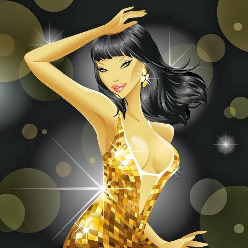 Chicas de cotillón de Año Nuevo oro - Vector