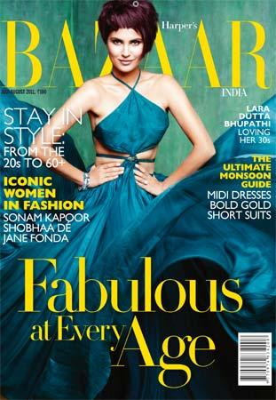 , Lara Dutta On Harper's Bazaar Magazine Cover July 2011
