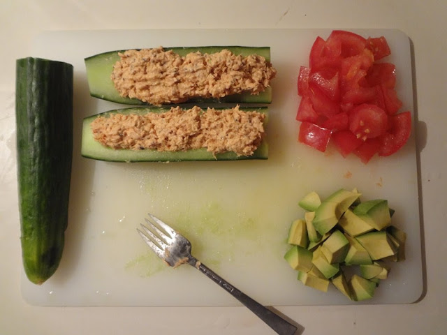 Salmon Cucumber boats with tomato and avocado