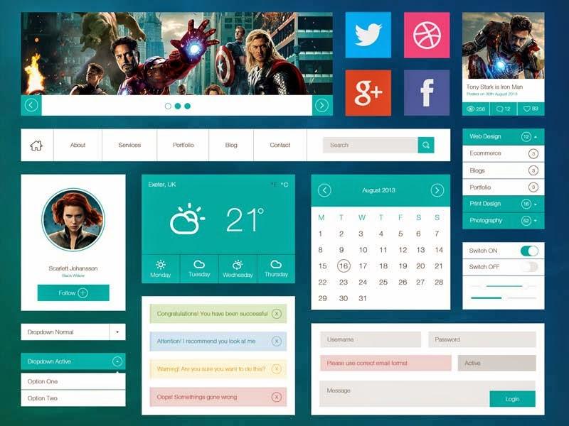 Flat Web UI Kit PSD