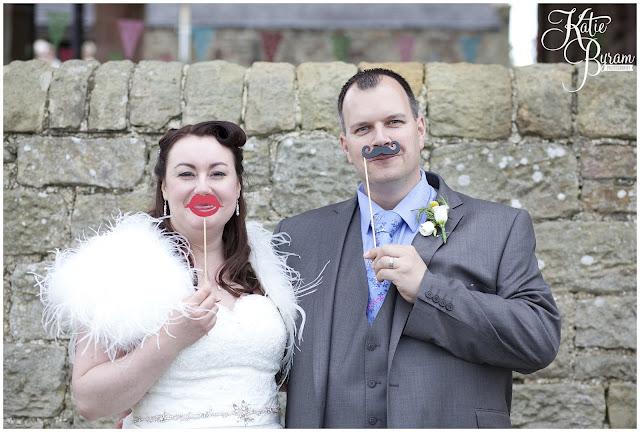 wedding moustache, happy wedding company, bride in window, bridal prep, vintage wedding, high house farm brewery wedding, northumberland wedding photography katie byram photography,