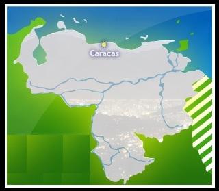 Mapa de VENEZUELA, (mapa pequeño) Ubicación de Caracas en Venezuela
