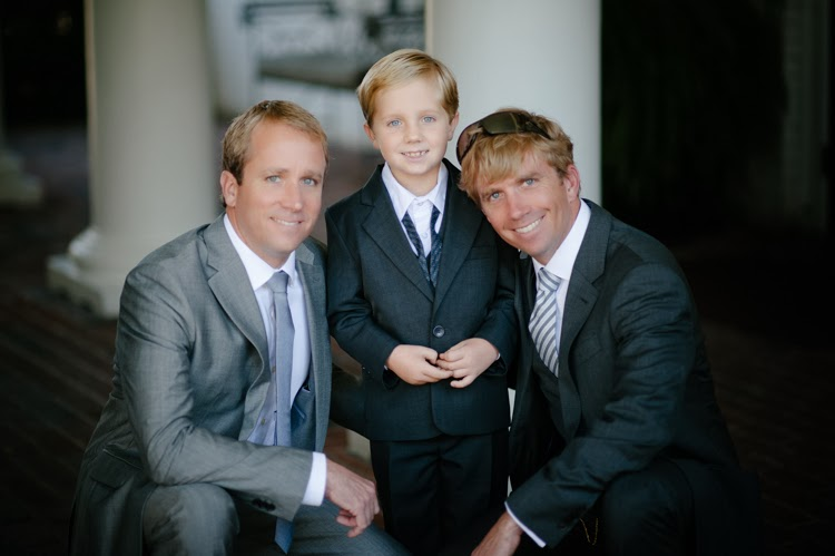 groom with his brother and nephew all dressed up