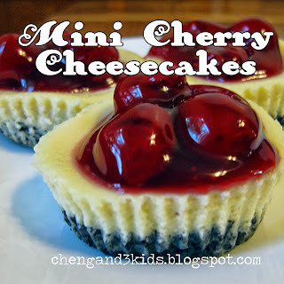 Mini Cherry Cheesecakes by Cheng and 3 Kids