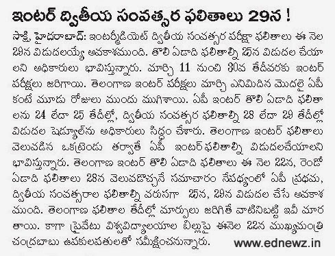 AP TS Inter Result date