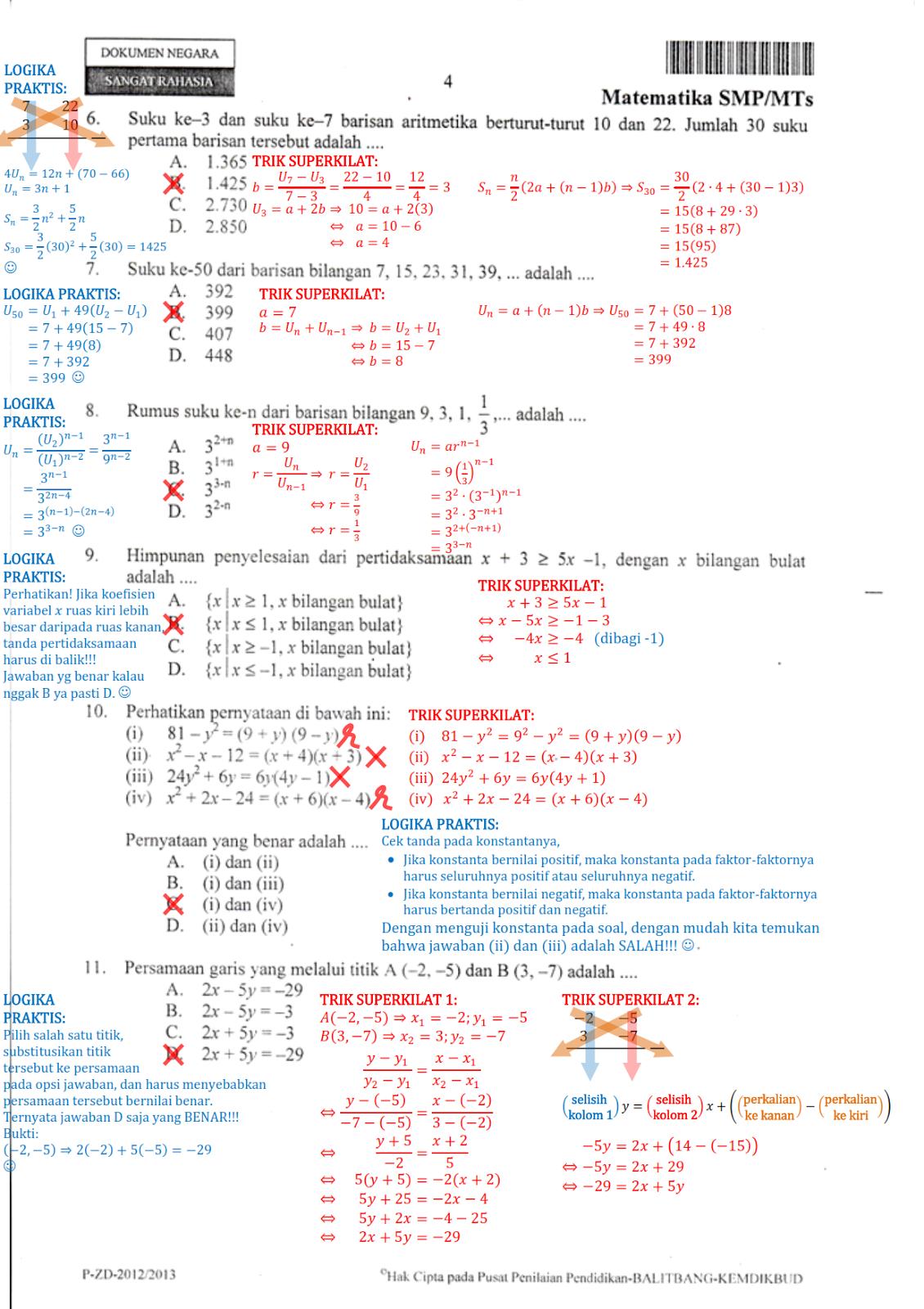 Berbagi Dan Belajar Contoh Pembahasan Soal Un Matematika Smp 2013 Menggunakan Trik Superkilat