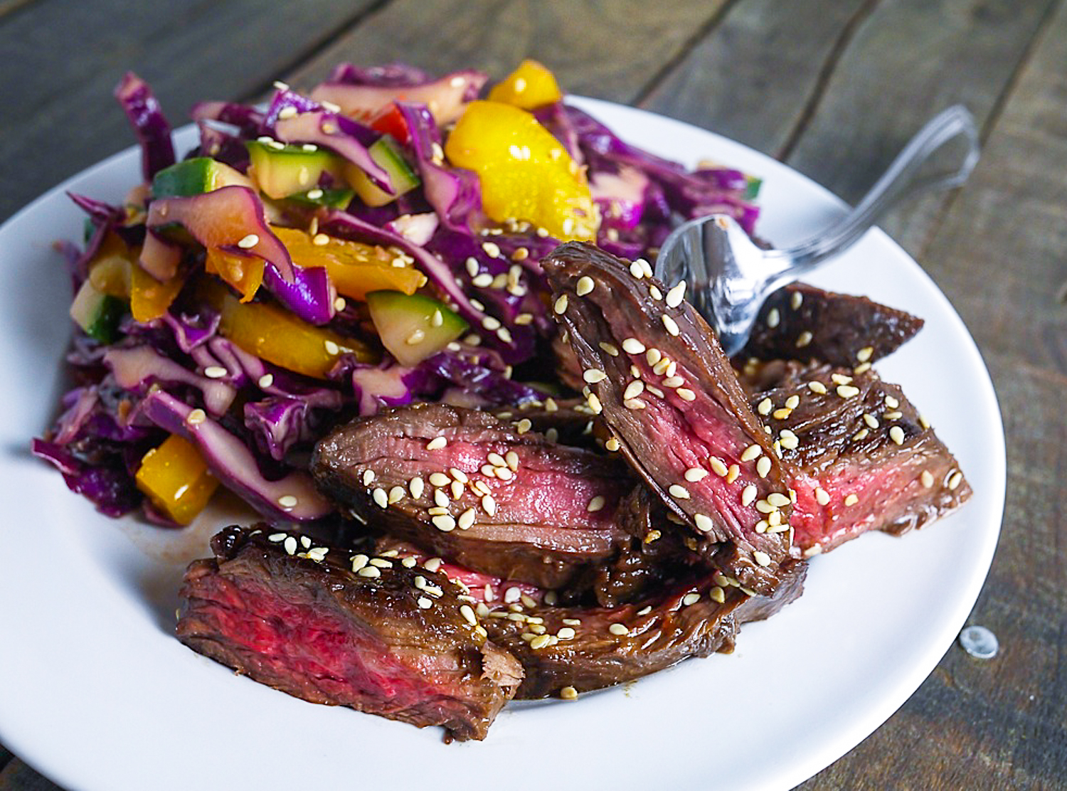 Sanddra's Secrets: Spicy Skirt Steak with Asian Slaw