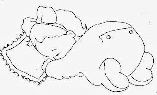 desenho bebe menina dormindo com travesseiro para pintar
